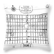 Philadelphia: Map, 1683 Throw Pillow