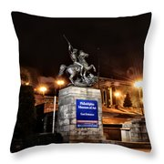 Philadelphia Museum Of Art At Night - East Entrance Throw Pillow