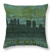 Philadelphia Pennsylvania Skyline Art On Distressed Wood Boards Throw Pillow