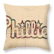 Philadelphia Phillies Poster Art Throw Pillow