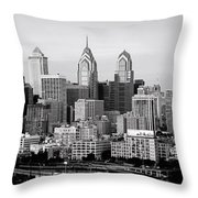 Philadelphia Skyline Black And White Bw Pano Throw Pillow