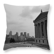 Philadelphia Skyline Black And White Throw Pillow