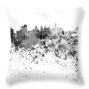 Philadelphia Skyline In Black Watercolor On White Background Throw Pillow