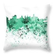 Philadelphia Skyline In Green Watercolor On White Background Throw Pillow