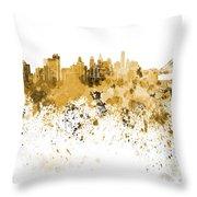 Philadelphia Skyline In Orange Watercolor On White Background Throw Pillow