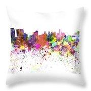 Philadelphia Skyline In Watercolor On White Background Throw Pillow