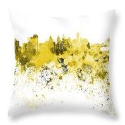 Philadelphia Skyline In Yellow Watercolor On White Background Throw Pillow