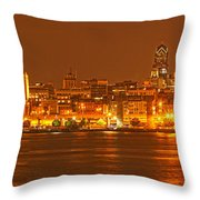 Philadelphia Skyline Panorama Throw Pillow
