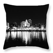 Philadelphia Skyline Panorama In Black And White Throw Pillow