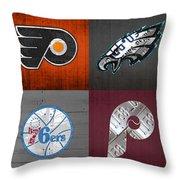 Philadelphia Sports Fan Recycled Vintage Pennsylvania License Plate Art Flyers Eagles 76ers Phillies Throw Pillow