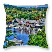 Philadelphia -waterworks And Boat House Row And Zoo Balloon Throw Pillow
