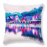 Philadelphia's Boathouse Row On The Schuylkill River Throw Pillow
