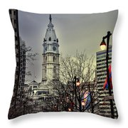 Philadelphia's Iconic City Hall Throw Pillow by Bill Cannon