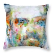 Philip K. Dick Watercolor Portrait.2 Throw Pillow