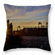 Phillies Citizens Bank Park At Dawn Throw Pillow by Bill Cannon
