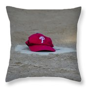 Phillies Hat On Home Plate Throw Pillow