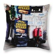 Philly Cheese Steak Cart Throw Pillow
