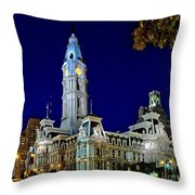 Philly City Hall At Night Throw Pillow