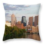 Philly Summer Skyline Throw Pillow