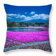 Phlox And Mt. Fuji Throw Pillow