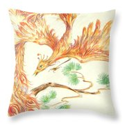 Phoenix In Flight Throw Pillow