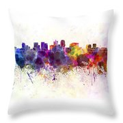 Phoenix Skyline In Watercolor Background Throw Pillow