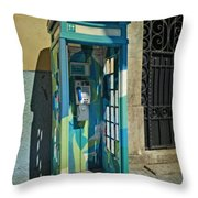 Phone Booth In Blues - Oporto Throw Pillow