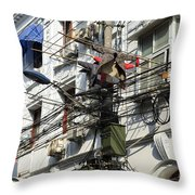 Phone Lines And Laundry Throw Pillow