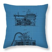 Phonograph Blueprint Patent Drawing Throw Pillow