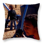 Photgrapher In Action Throw Pillow
