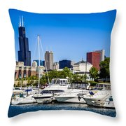 Photo Of Chicago Skyline With Burnham Harbor Throw Pillow