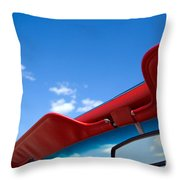 Photo Of Convertible Car And Blue Sky Throw Pillow