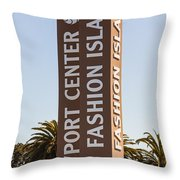 Photo Of Fashion Island Sign In Newport Beach Throw Pillow