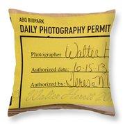 Photo Permit Throw Pillow