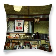 Elvis In The Diner Throw Pillow