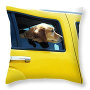 Yellow With Lab Throw Pillow