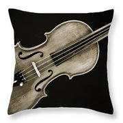 Photograph Of A Complete Viola Violin In Sepia 3370.01 Throw Pillow