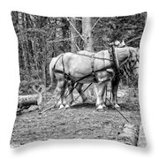 Photograph Of Horses Pulling Logs In Maine Forest Throw Pillow