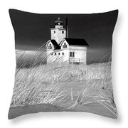 Photograph Of The Lighthouse Big Red In Holland Michigan Throw Pillow