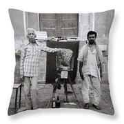 Photographer And Assistant Throw Pillow