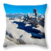 Photographer On Top Of Sentinel Dome In Yosemite Np-ca  Throw Pillow