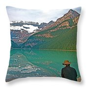 Photographers At Lake Louise In Banff National Park-ab Throw Pillow