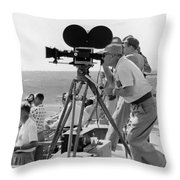 Photographers Filming An Event Throw Pillow by Underwood Archives