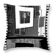 Photographic Artwork Of Woody Allen In A Window Display Throw Pillow