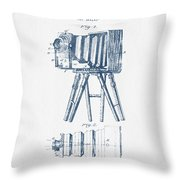 Photographic Camera Patent Drawing From 1885- Blue Ink Throw Pillow