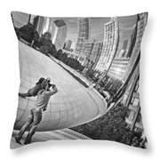 Photographing The Bean - Cloud Gate - Chicago Throw Pillow