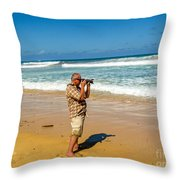 Photorgapher Near The Ocean Throw Pillow
