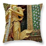 Phra Mondhop At Thai Pagoda At Grand Palace Of Thailand In Bangkok  Throw Pillow
