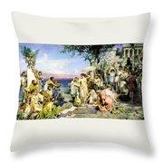 Phryne At The Festival Of Poseidon In Eleusin Throw Pillow
