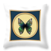 Phthalo Butterfly Throw Pillow